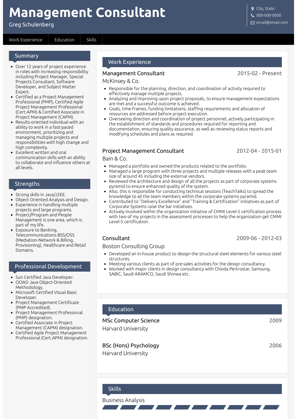 Management Consultant Resume Sample and Template