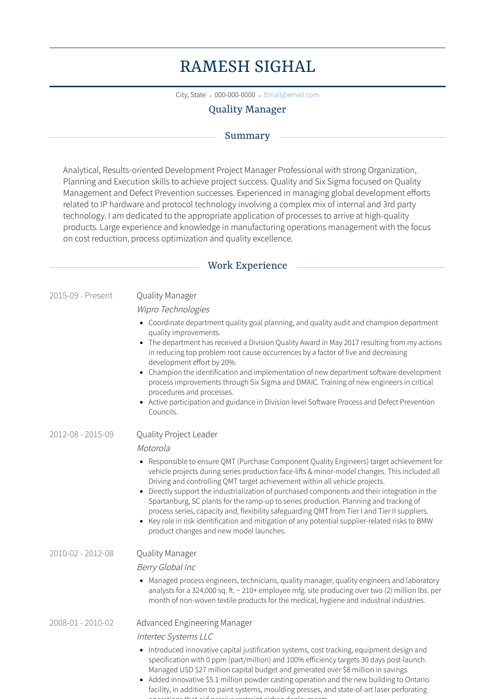Management Resume Sample