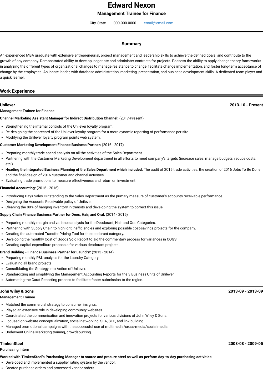 Management Trainee For Finance Resume Sample and Template