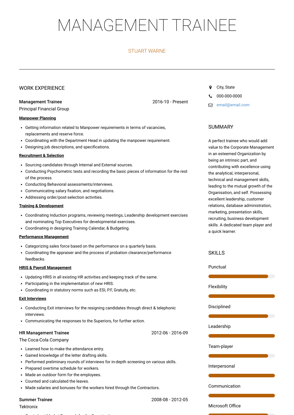 Management Trainee Resume Sample and Template