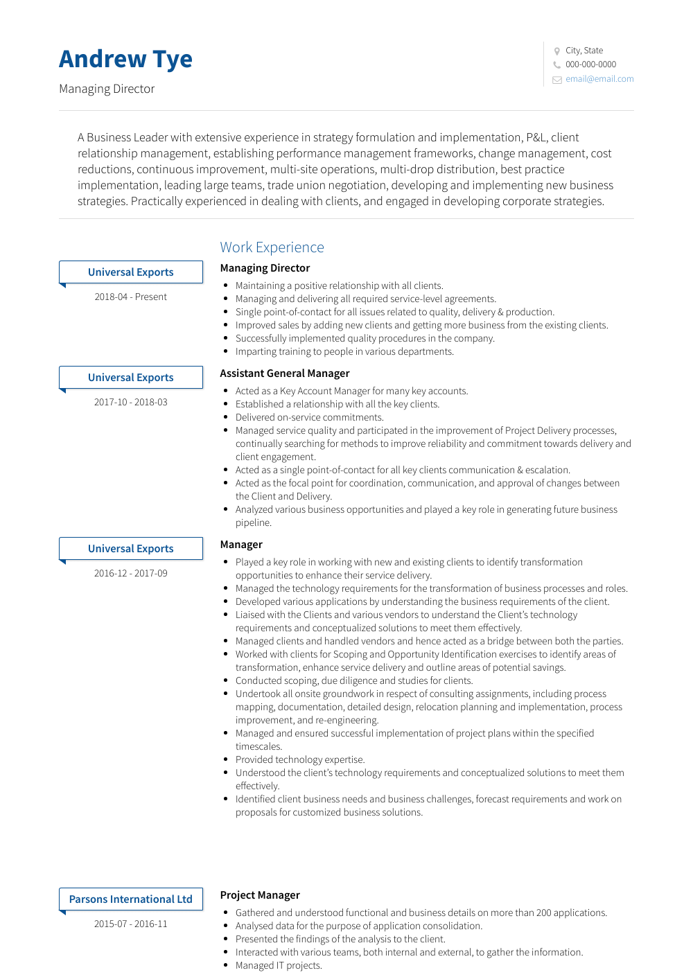Managing Director Resume Samples And Templates Visualcv