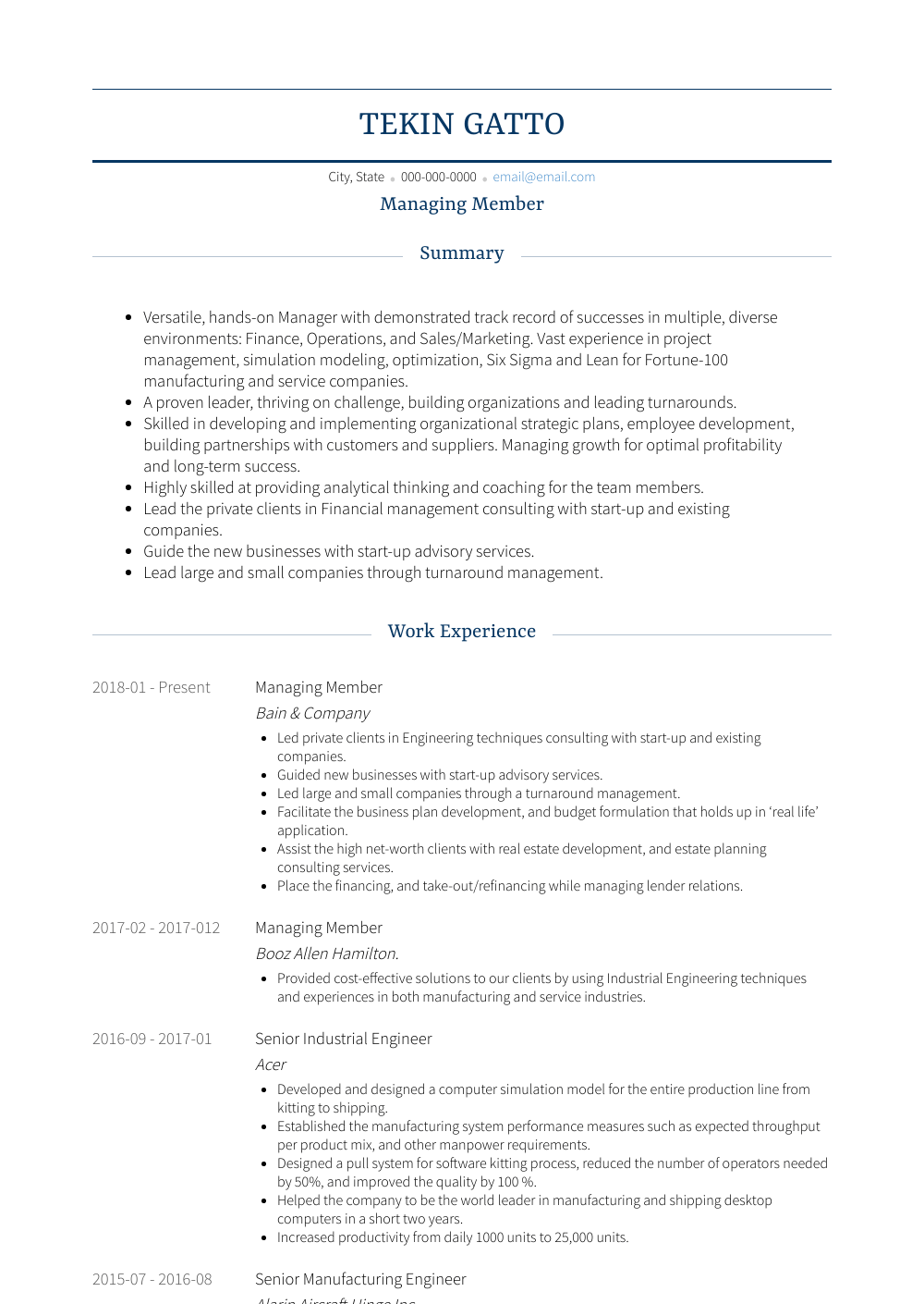 Managing Member Resume Sample