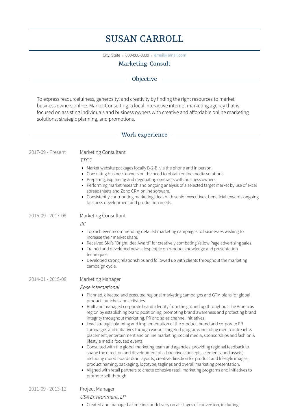 Marketing Consultant - Resume Samples and Templates | VisualCV