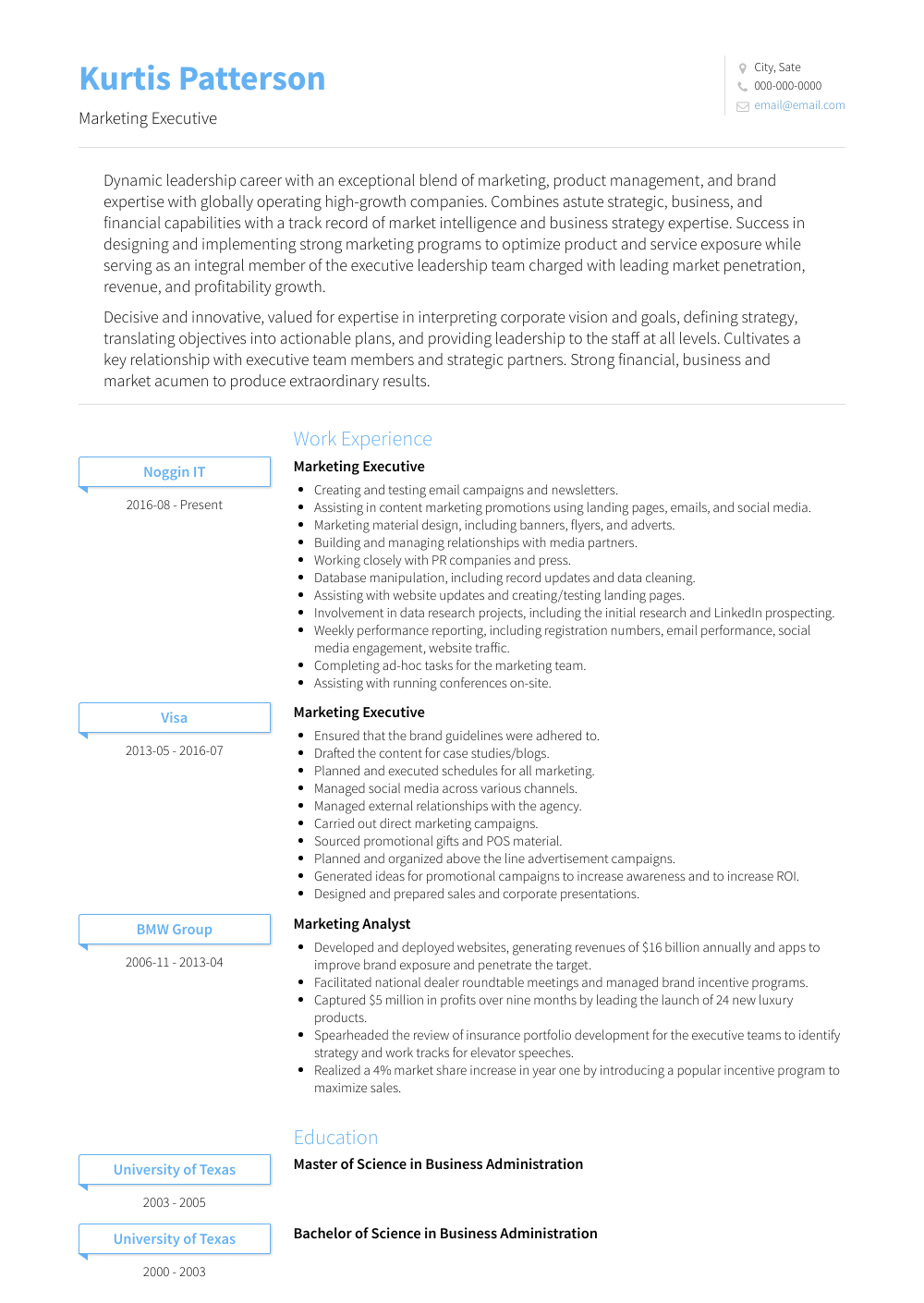 Marketing Executive Resume Sample and Template
