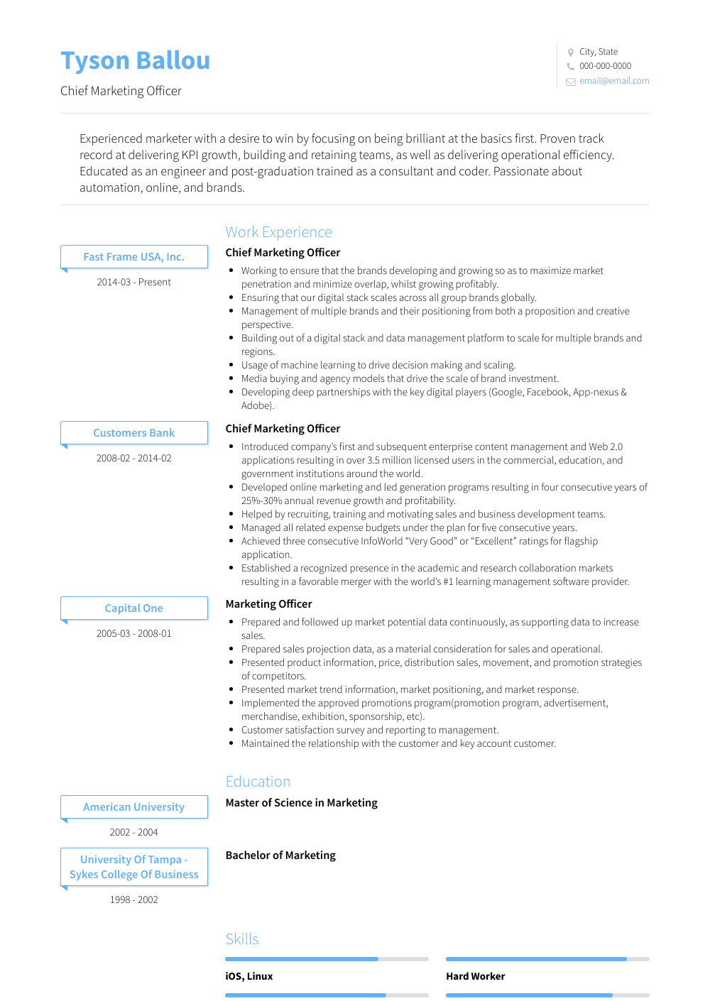 Marketing Officer Resume Sample