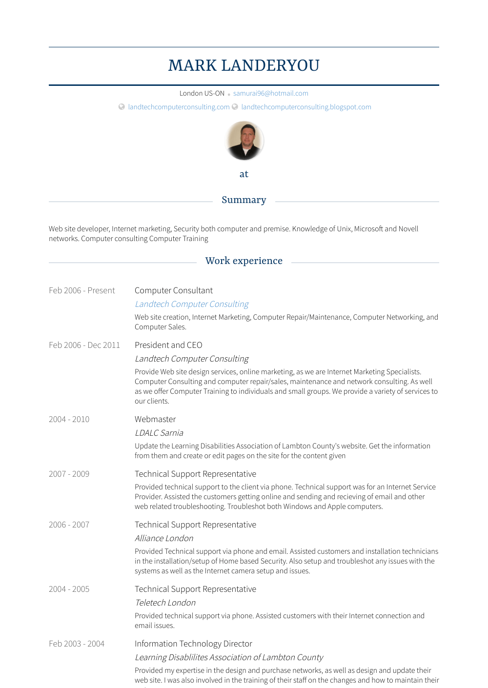 Computer Consultant Resume Sample