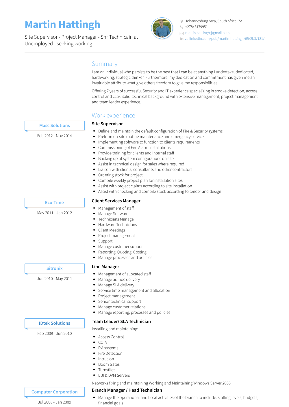 Site Supervisor - Resume Samples & Templates | VisualCV