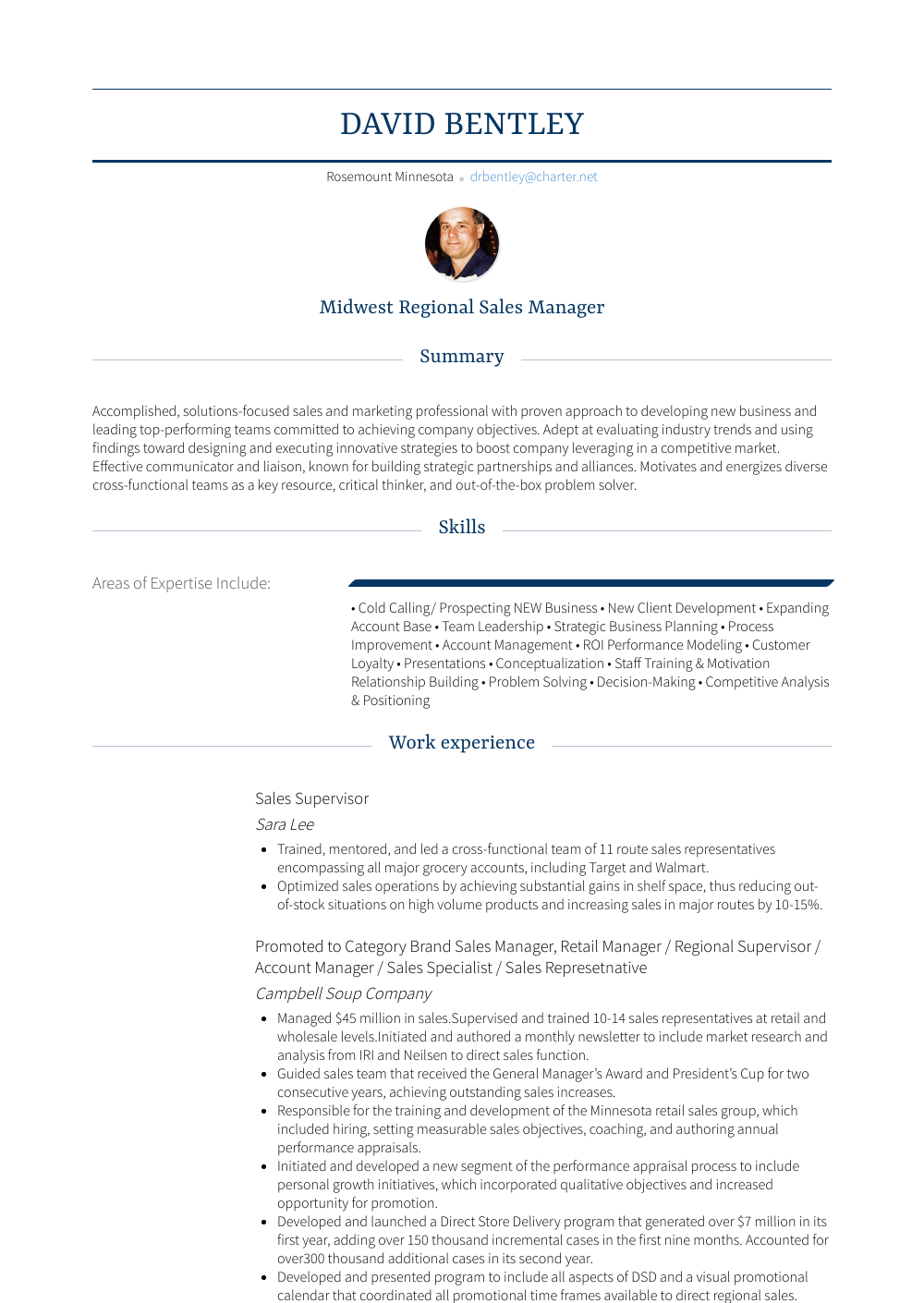 Sales Supervisor - Resume Samples & Templates | VisualCV