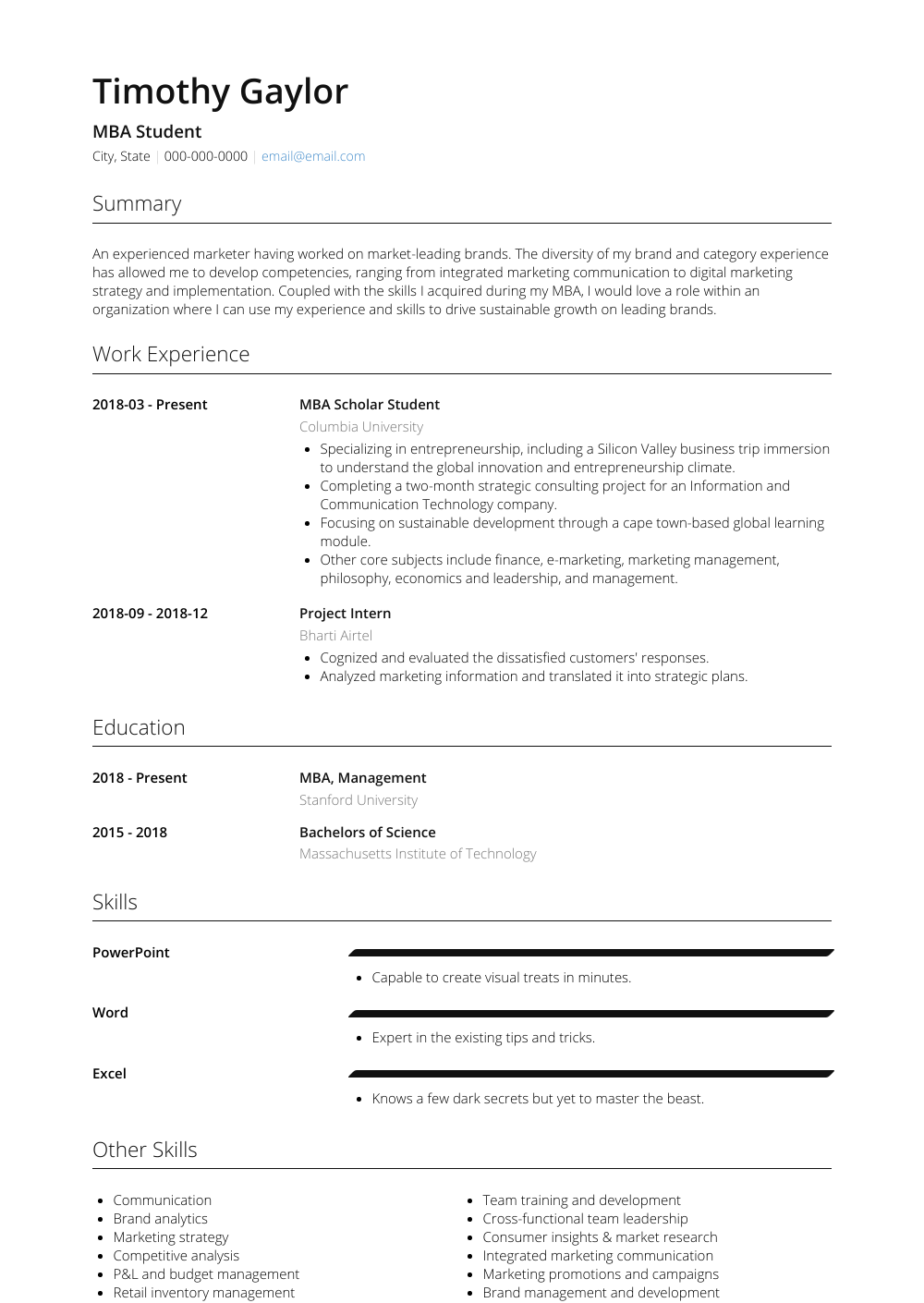 Mba Student - Resume Samples and Templates | VisualCV