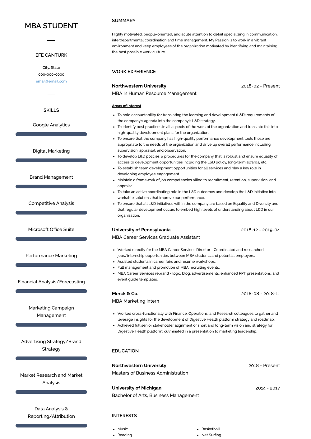 Mba In Human Resource Management Resume Sample and Template