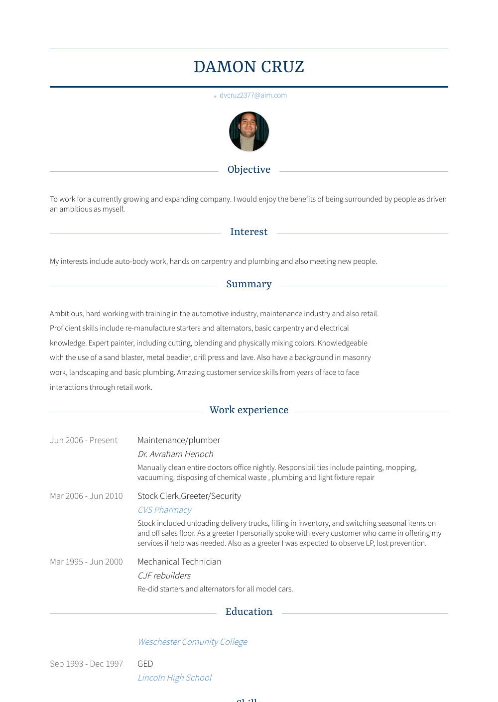 plumber  resume samples and templates  visualcv