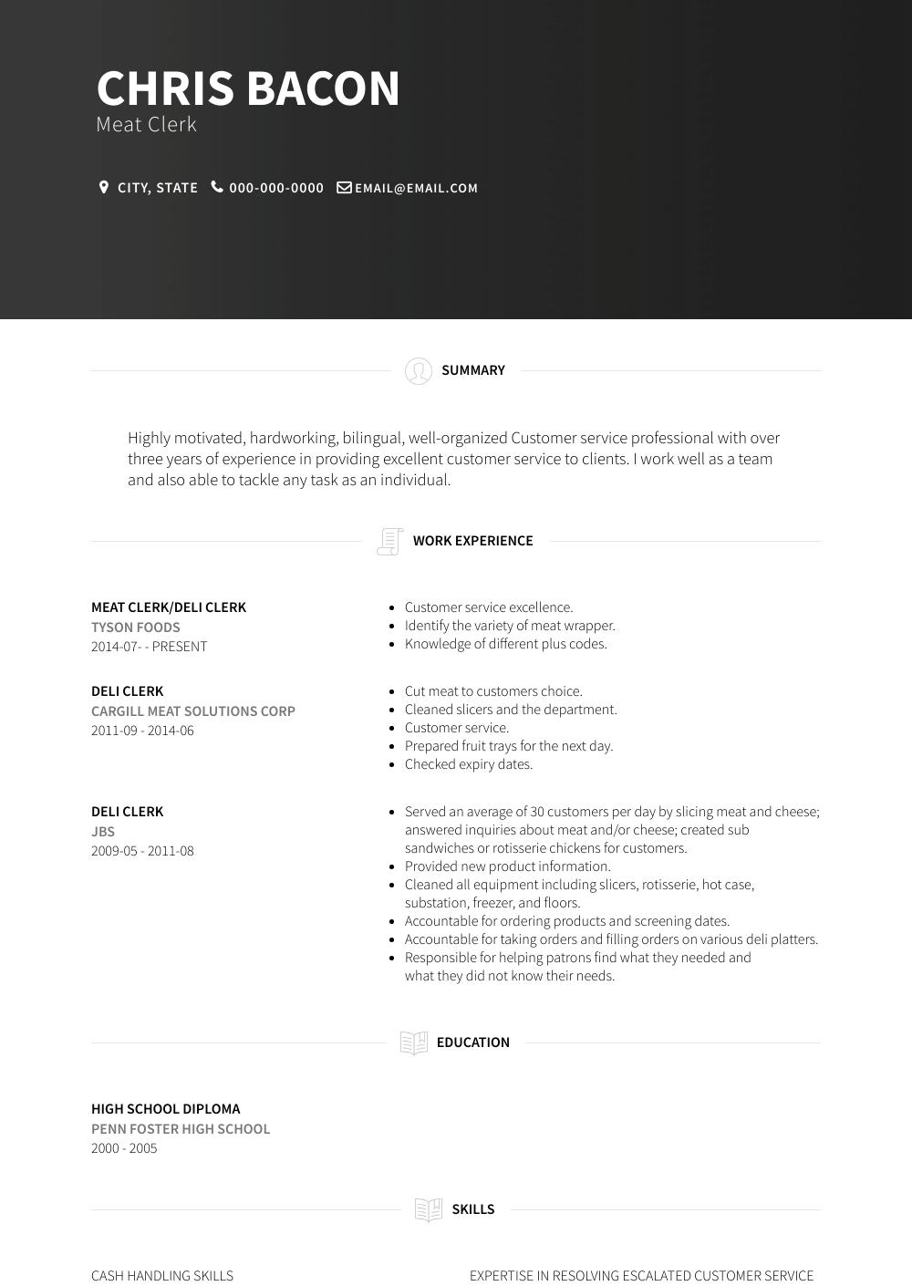 Meat Clerk Resume Sample