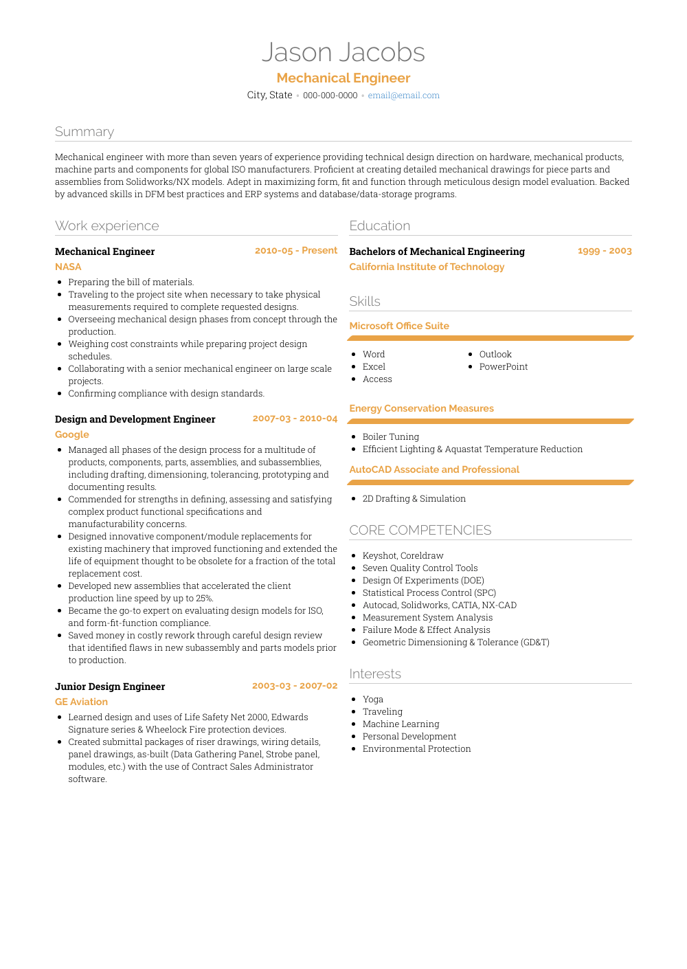 Mechanical Design Engineer Resume Samples And Templates