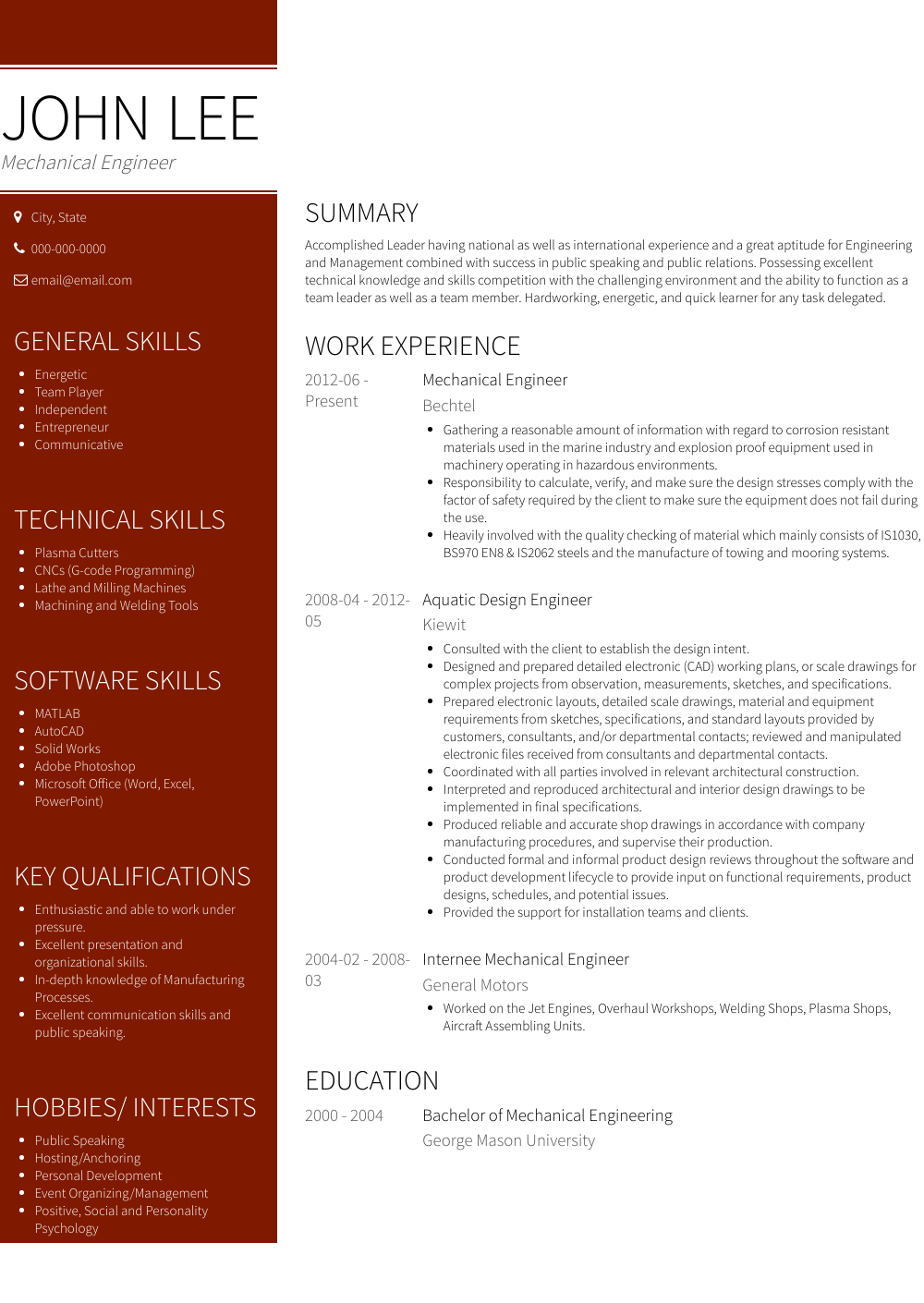 Mechanical Engineer Resume Sample and Template