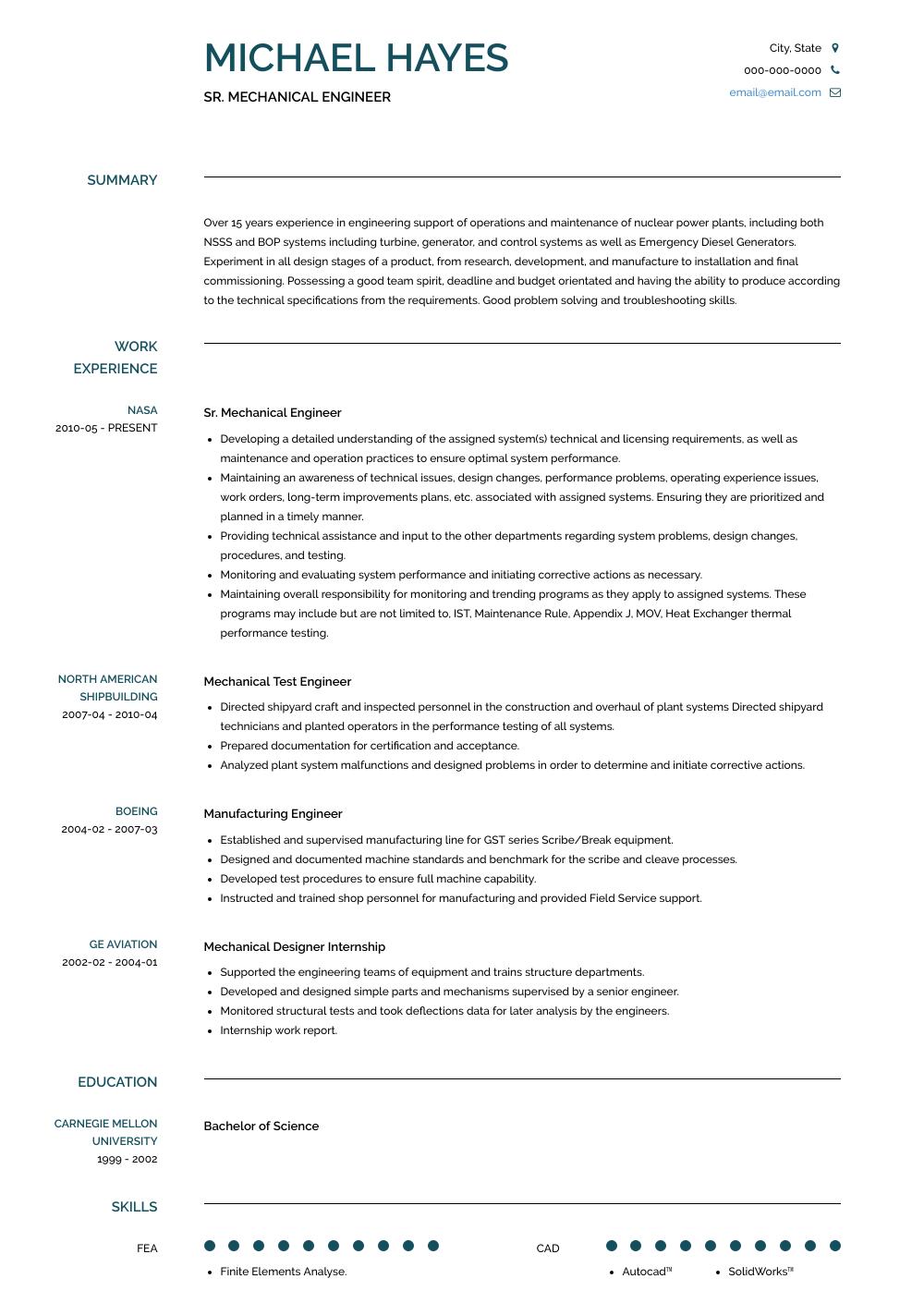 Sr. Mechanical Engineer Resume Sample and Template