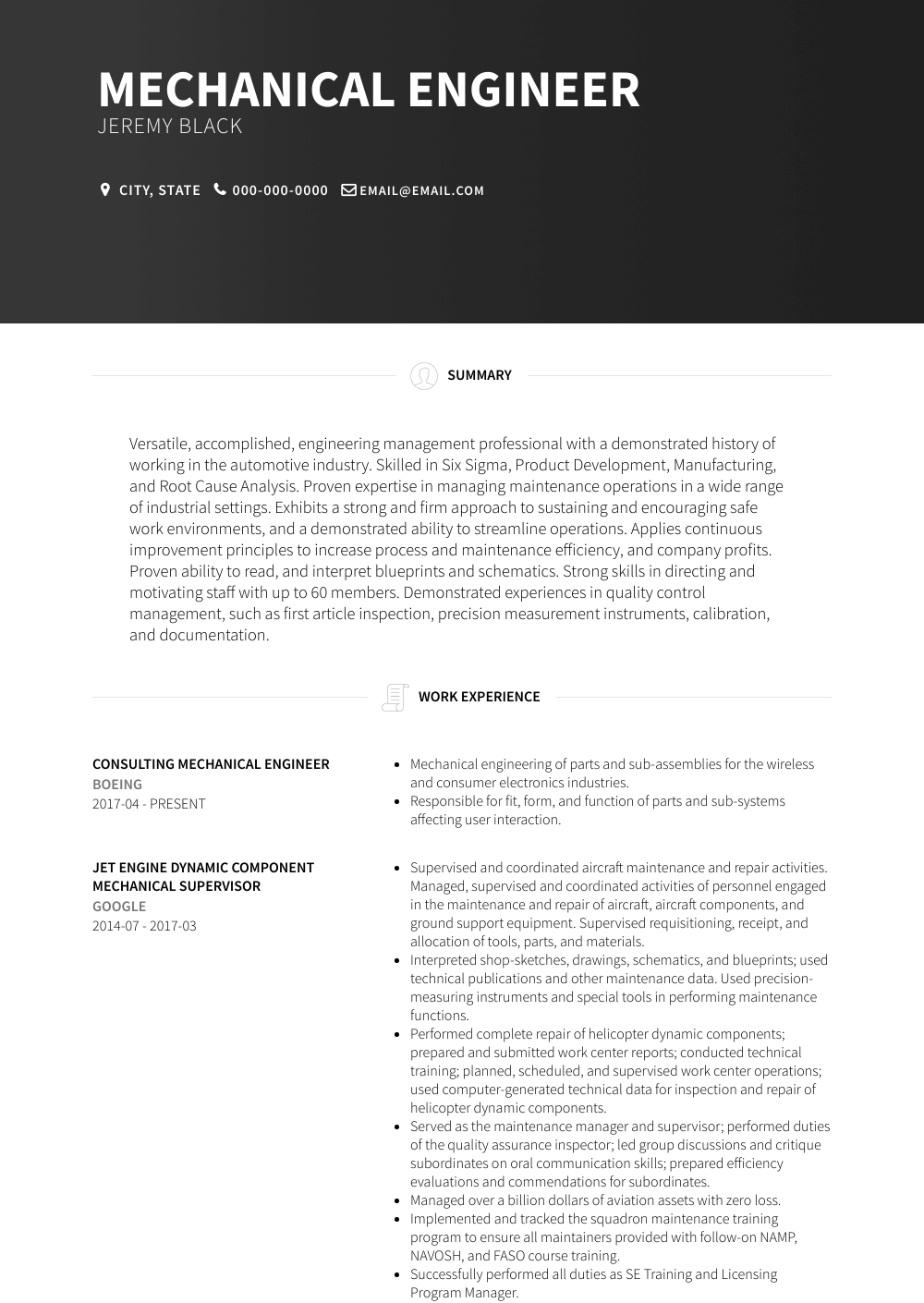 Consulting Mechanical Engineer Resume Sample and Template