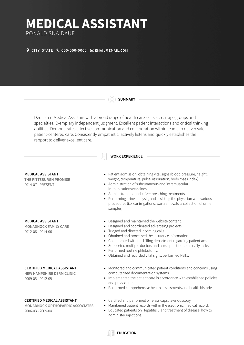 Medical Assistant Resume Samples And Templates Visualcv