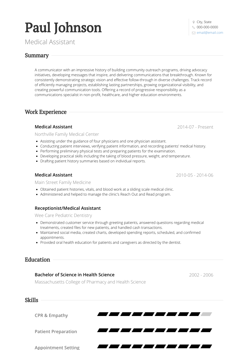 Medical Assistant Resume Sample and Template