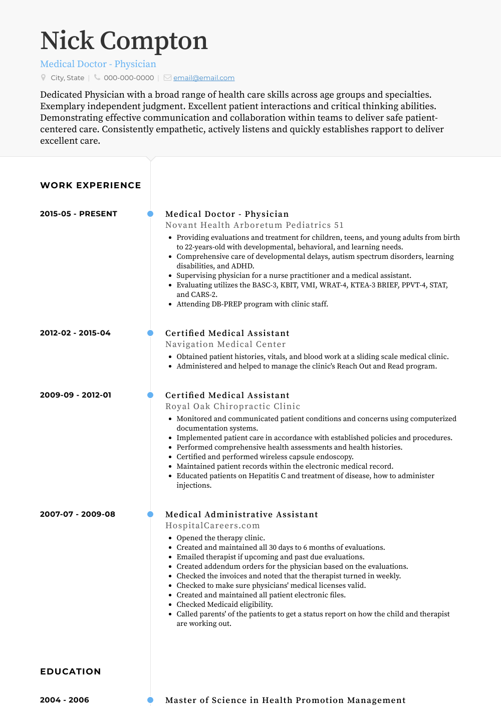 Medical Doctor - Physician Resume Sample and Template