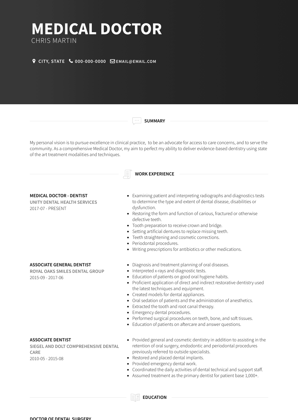 Medical Doctor Resume Sample and Template