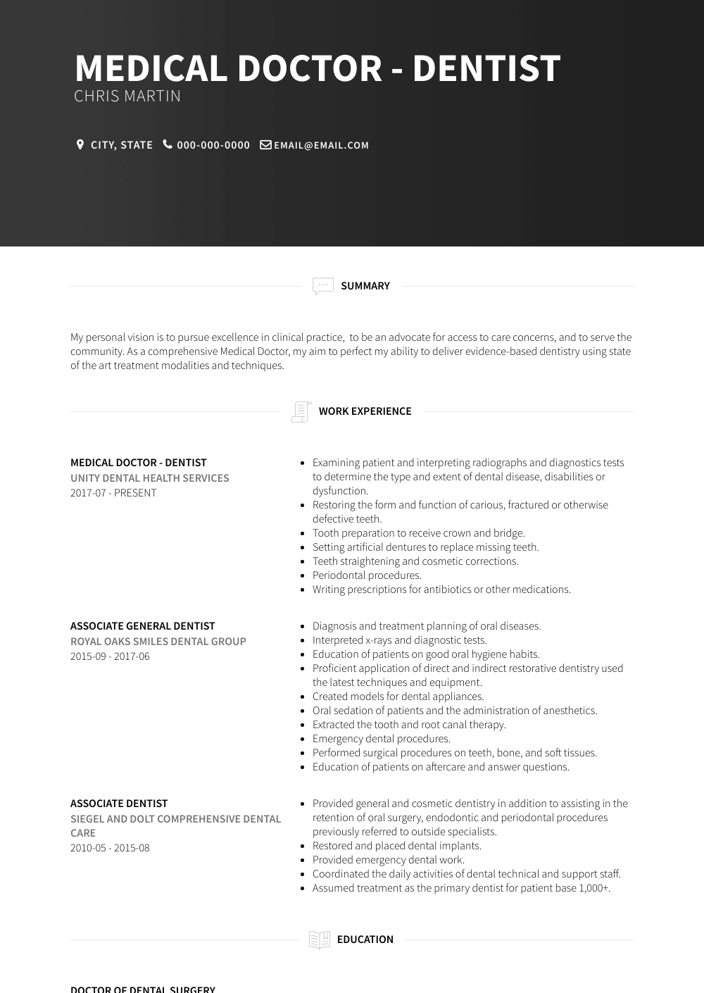 Medical Doctor Resume Sample