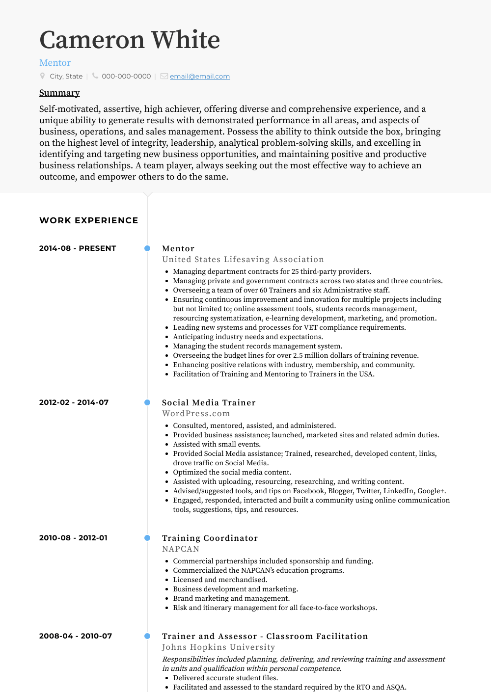 Mentor Resume Sample and Template