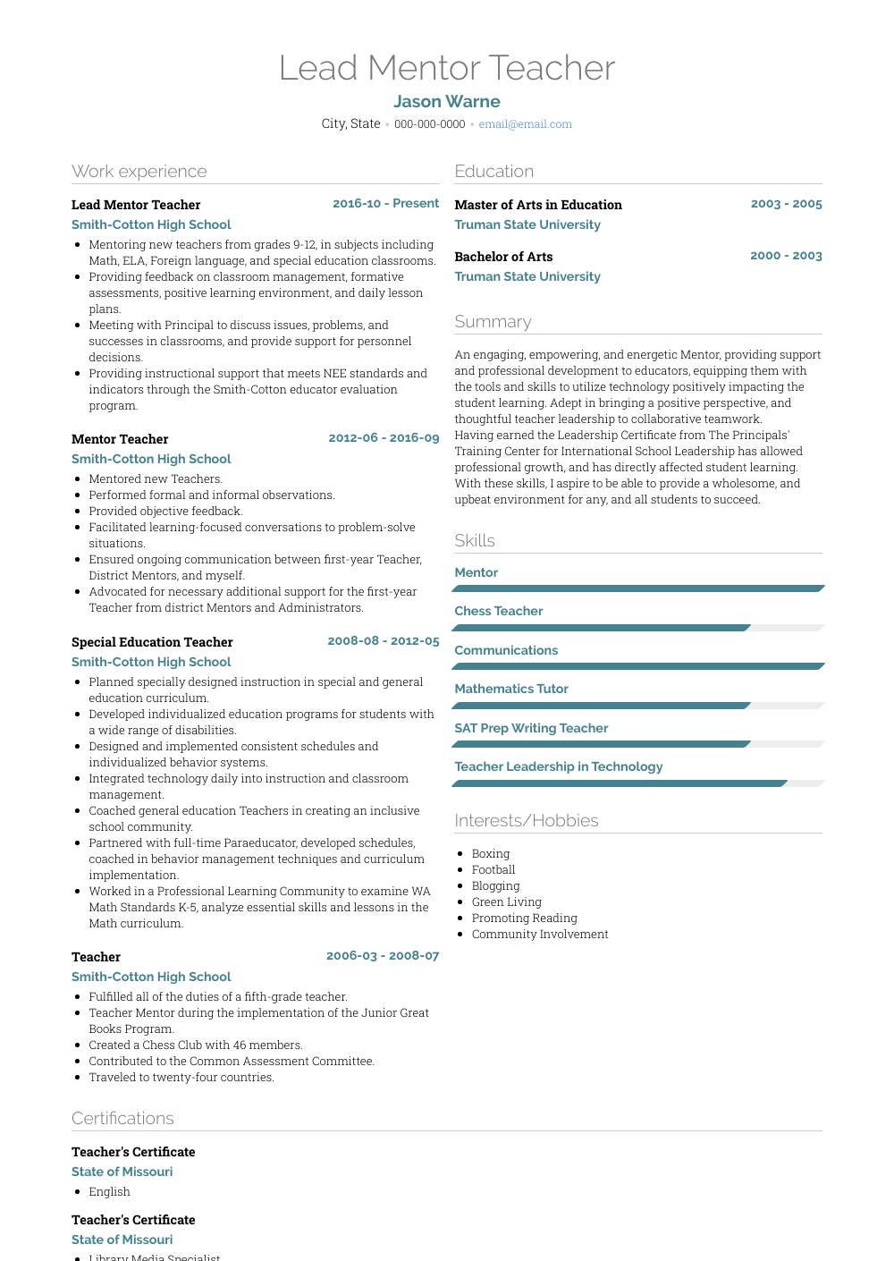 Mentor  Resume Samples and Templates   VisualCV