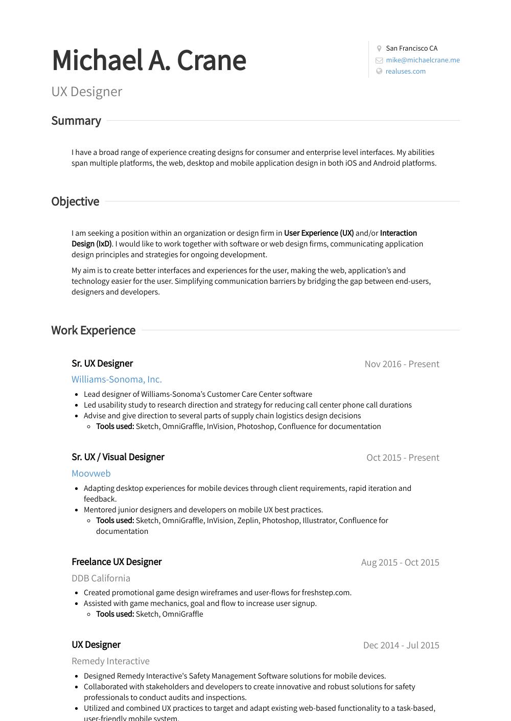 user experience designer resumes