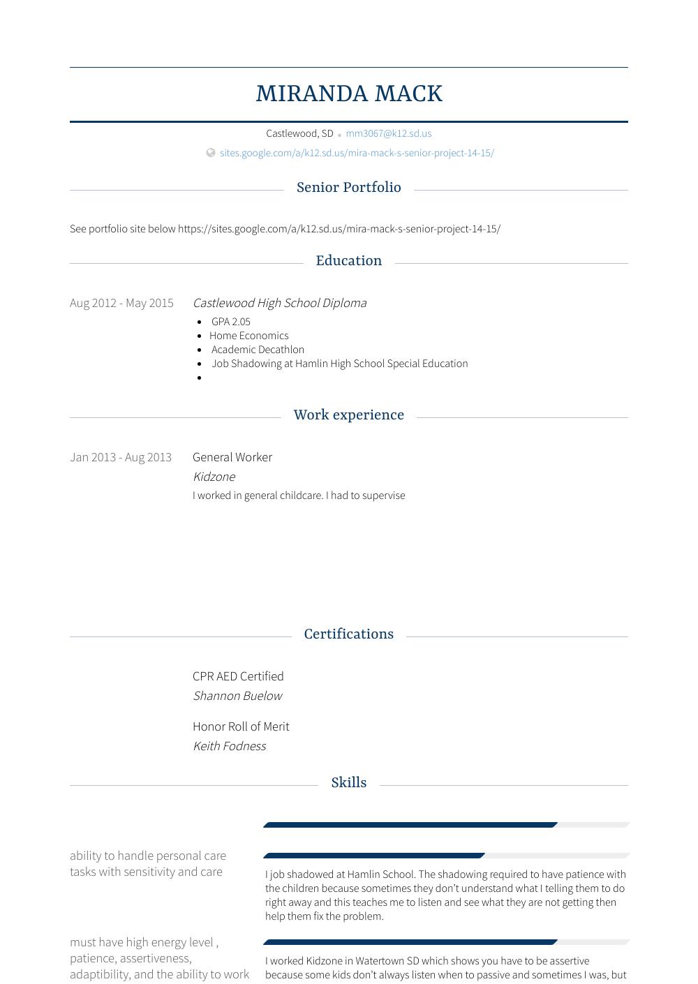 General Worker Resume Sample