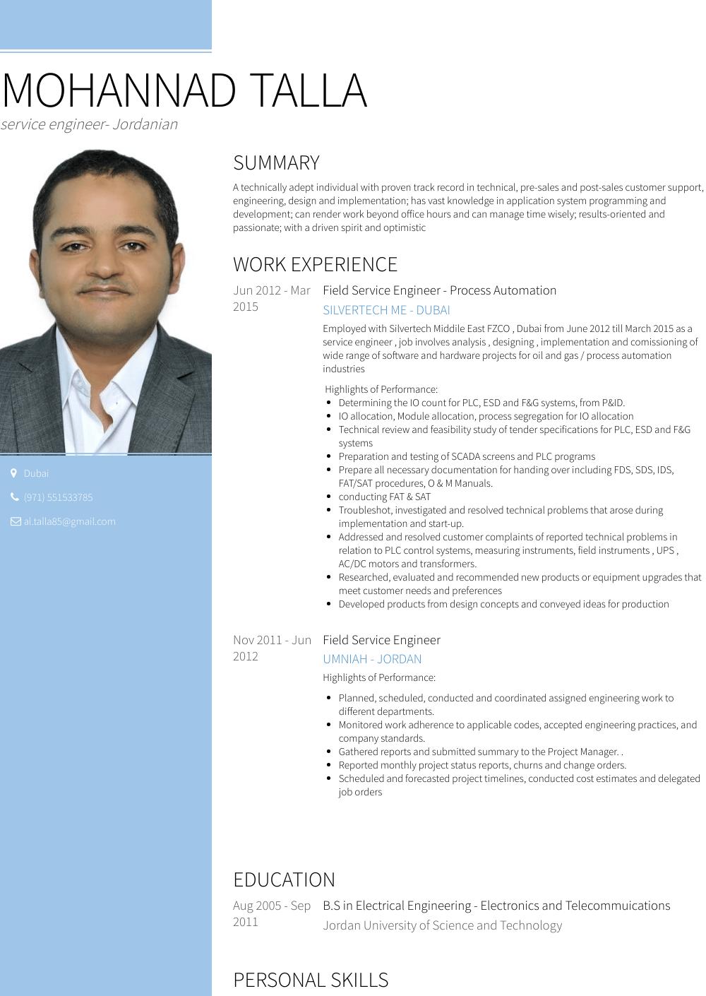 Service Engineer Resume Sample