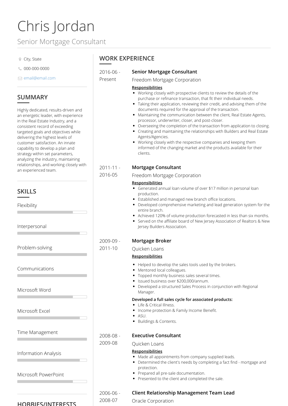 Mortgage Consultant Resume Sample