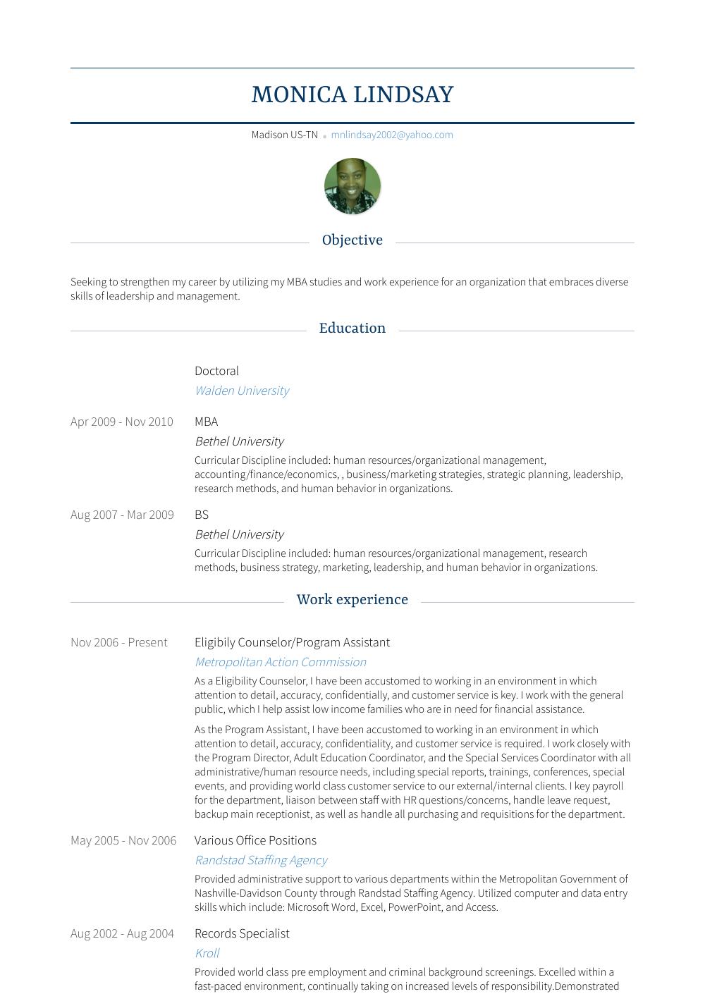 Program Assistant Resume Sample