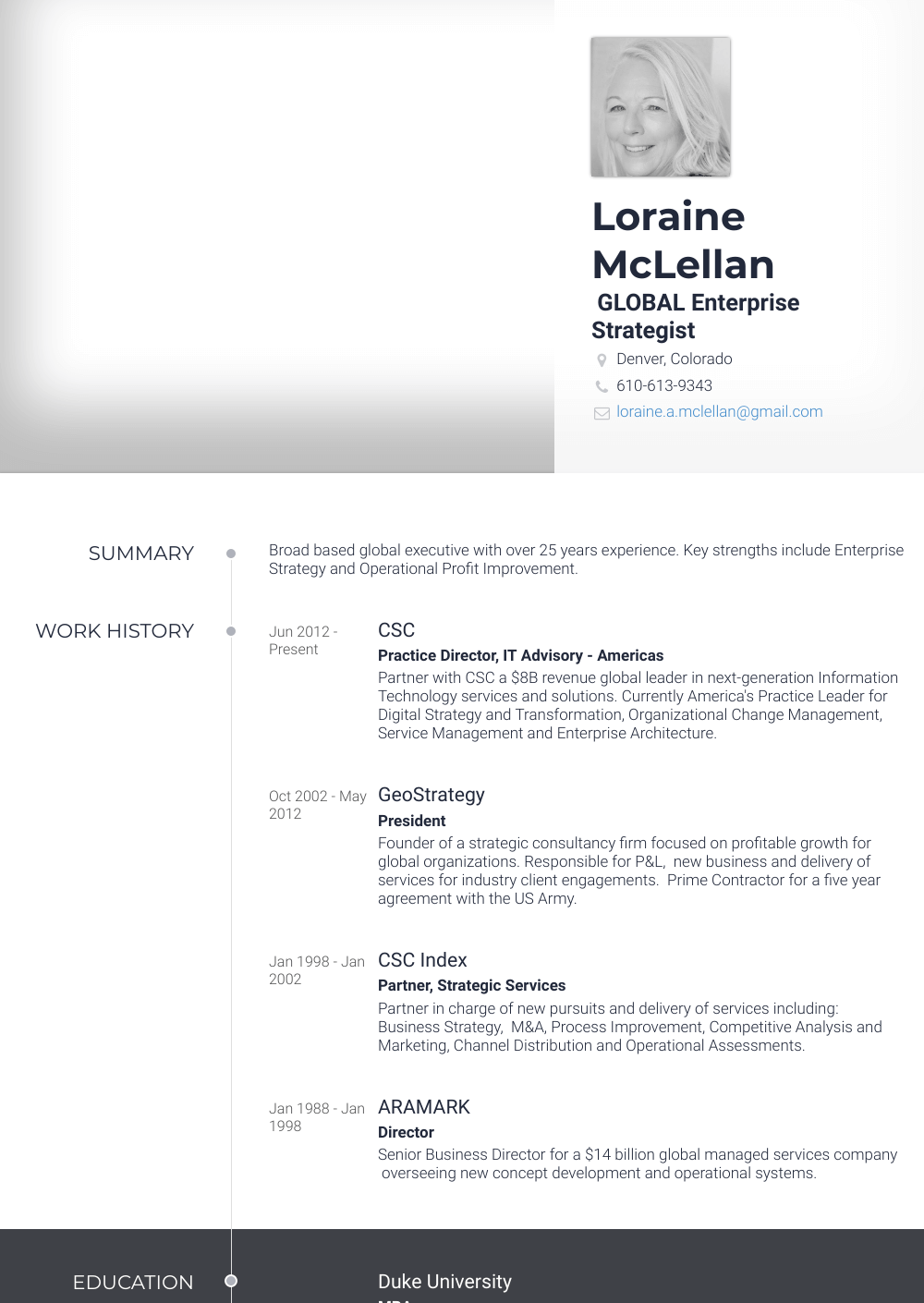 Partner Resume Sample