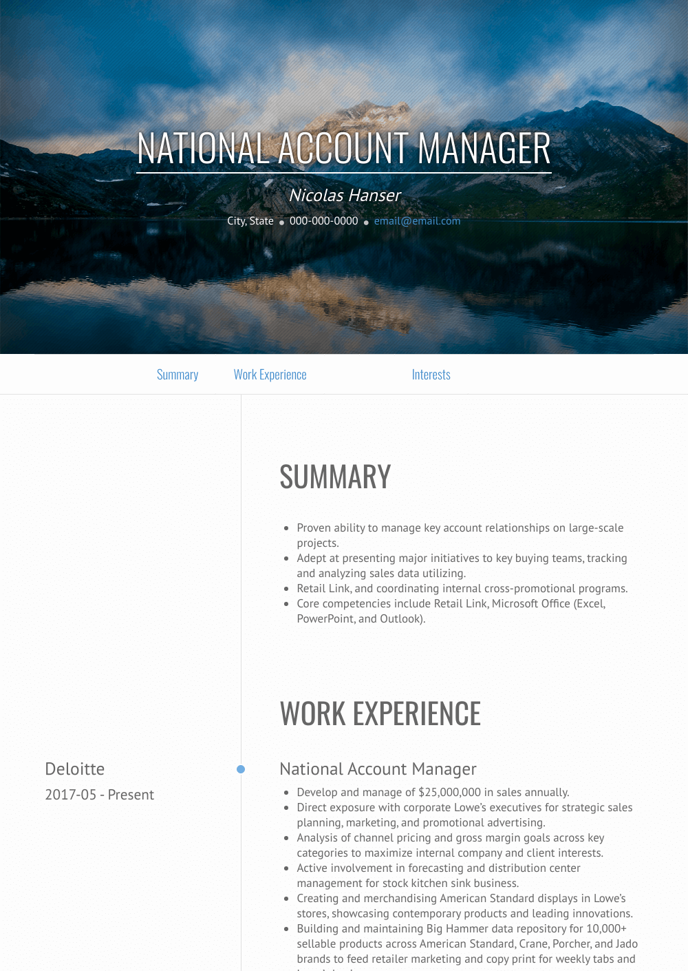 National Account Manager Resume Sample