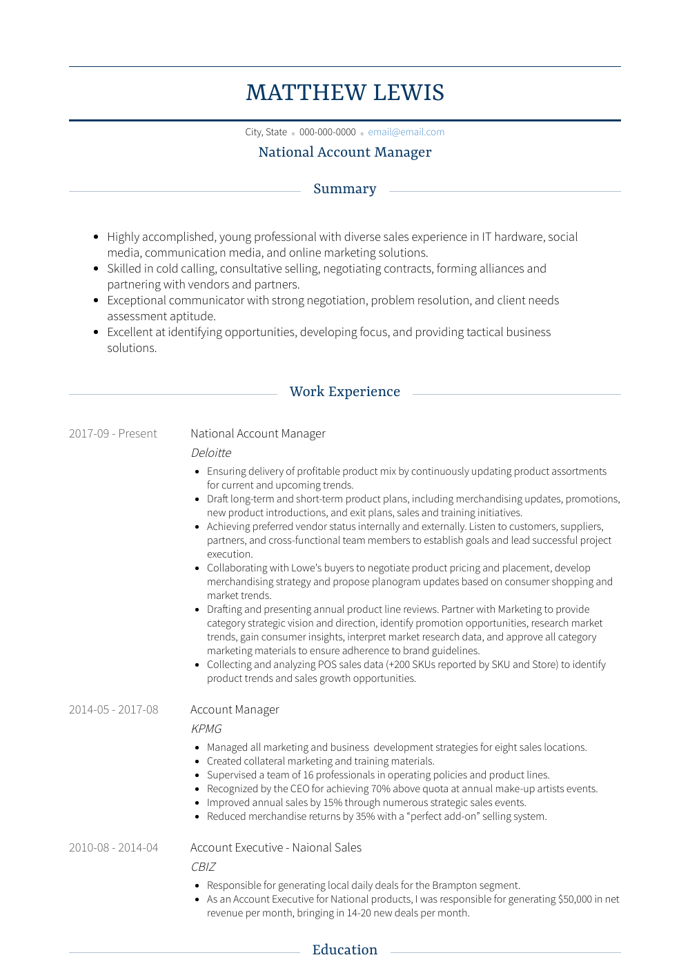 National Account Manager Resume Sample and Template