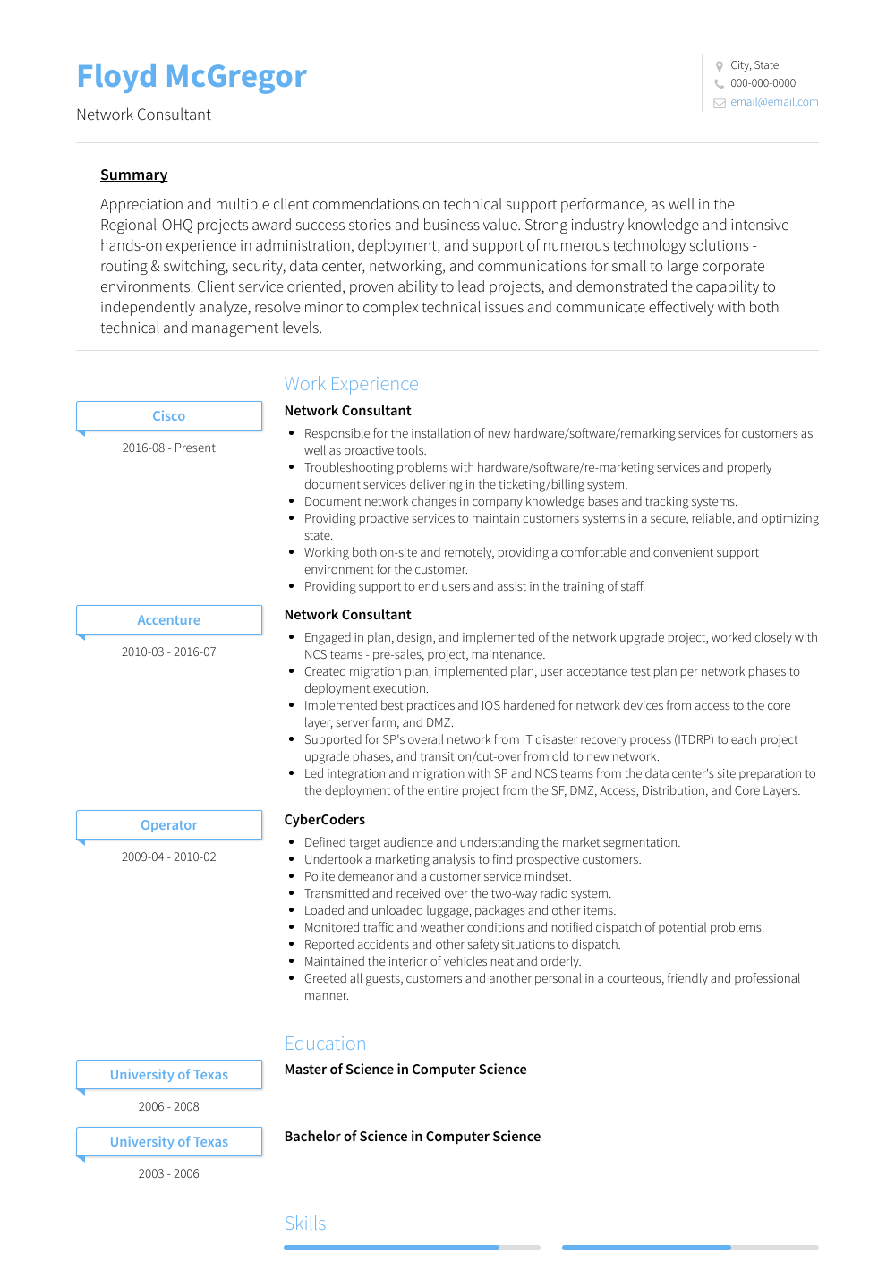 Network Consultant Resume Sample