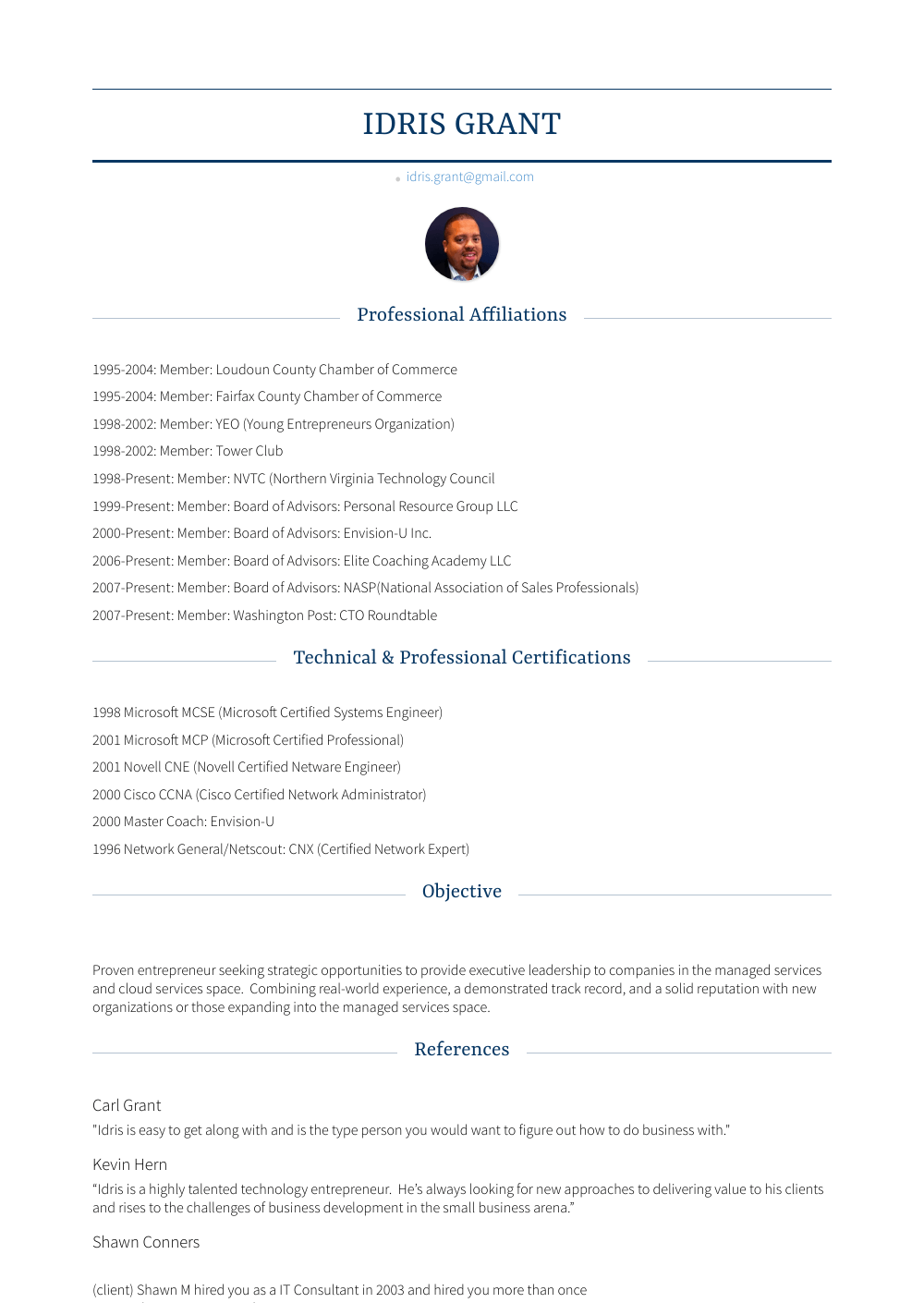 Chairman Resume Sample