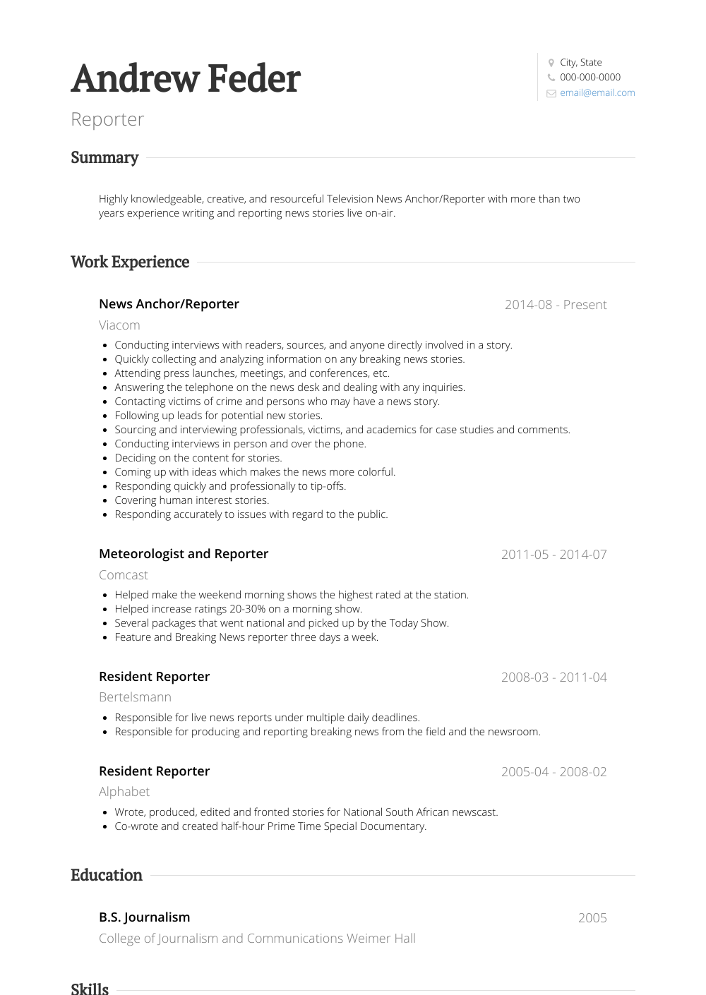 Reporter Resume Sample and Template