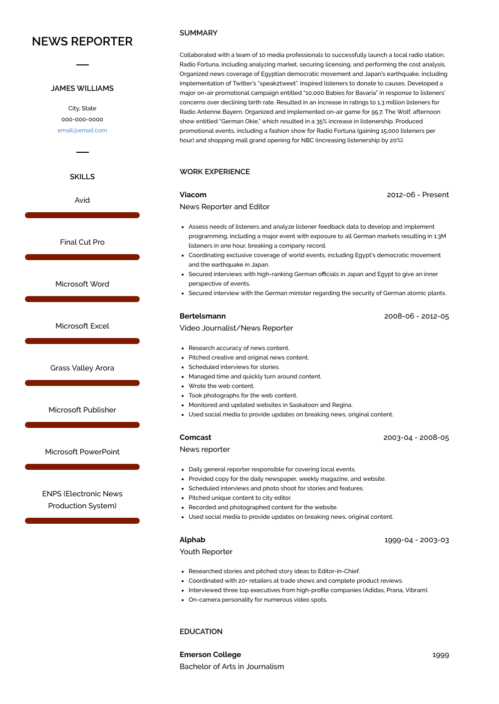 News Reporter Resume Sample and Template