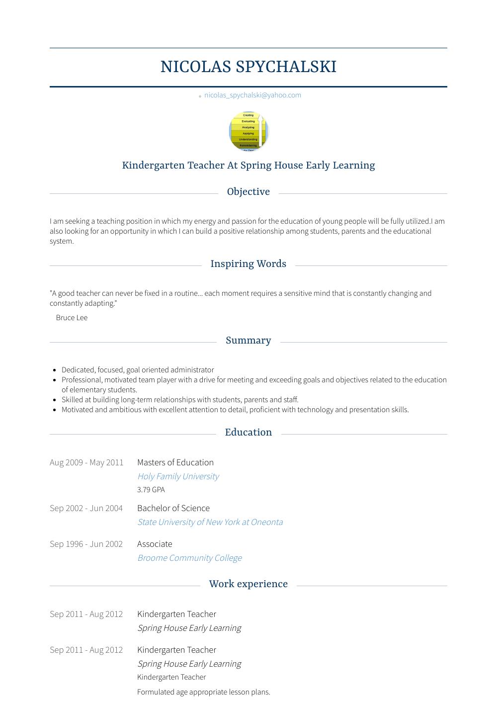 kindergarten teacher resume samples