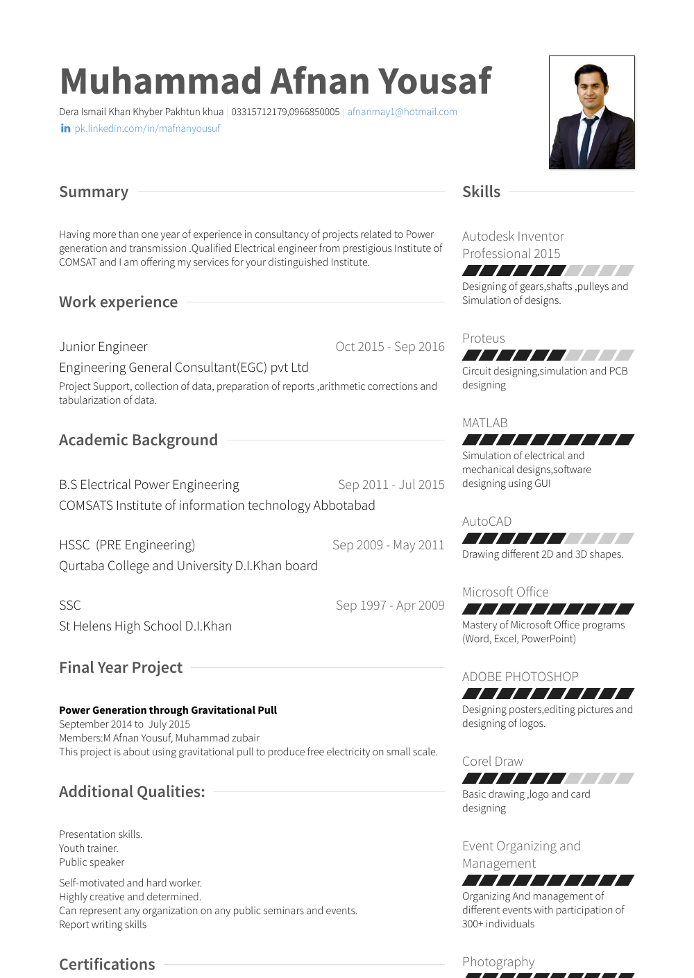 Internee Resume Sample