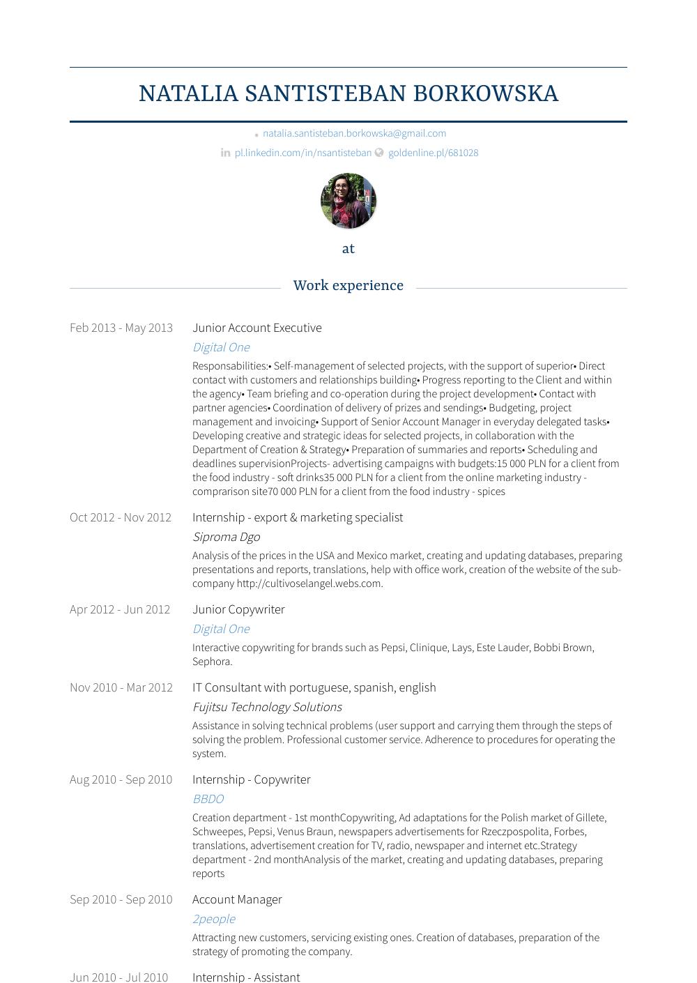 Junior Account Executive - Resume Samples & Templates | VisualCV