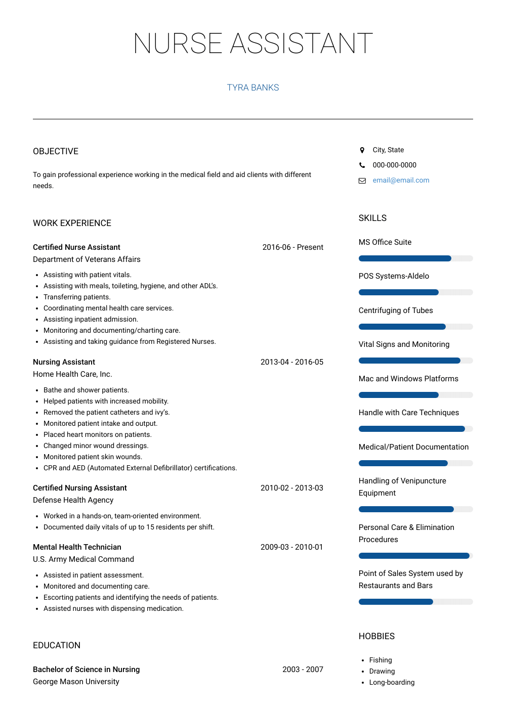 Nursing Assistant Resume Sample and Template