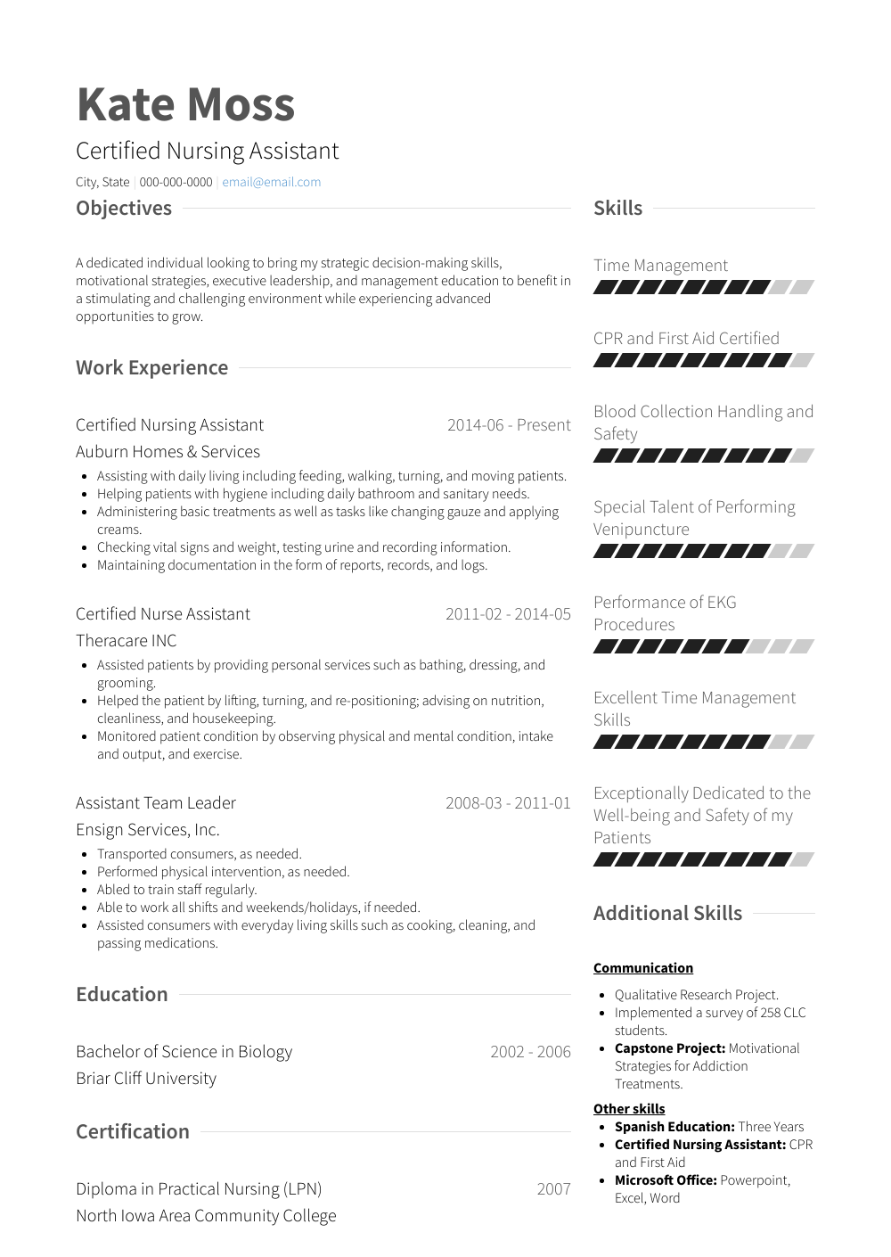 Certified Nursing Assistant Resume Sample and Template