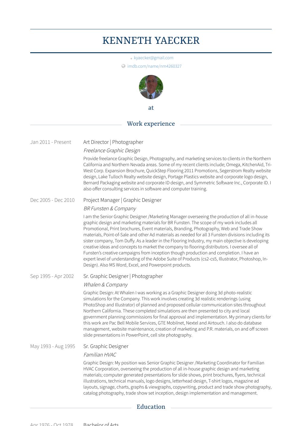 Art Director - Resume Samples & Templates | VisualCV