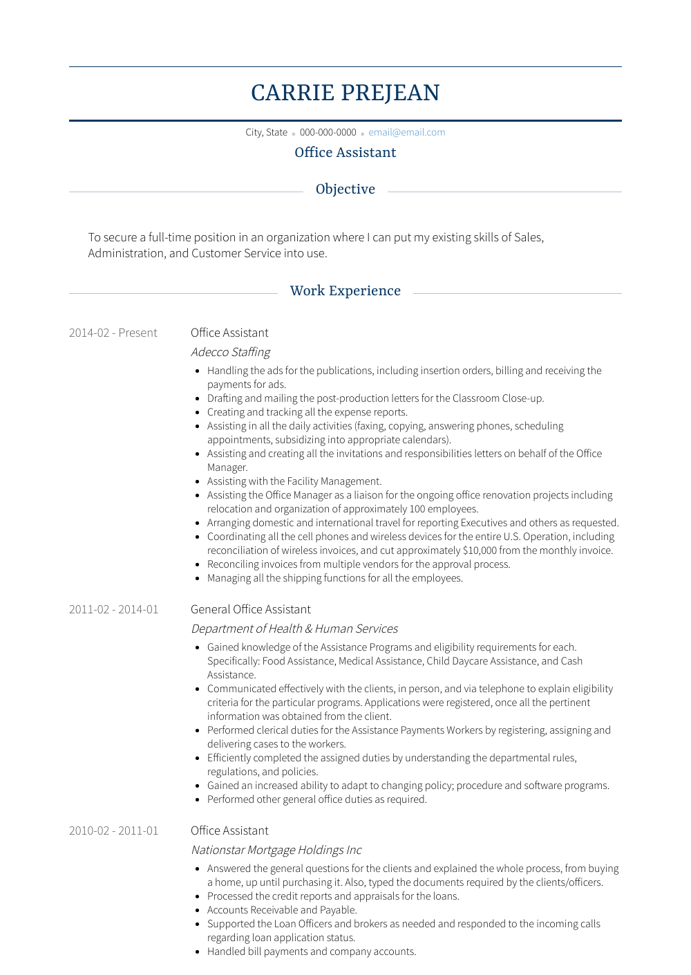 Office Assistant - Resume Samples & Templates | VisualCV