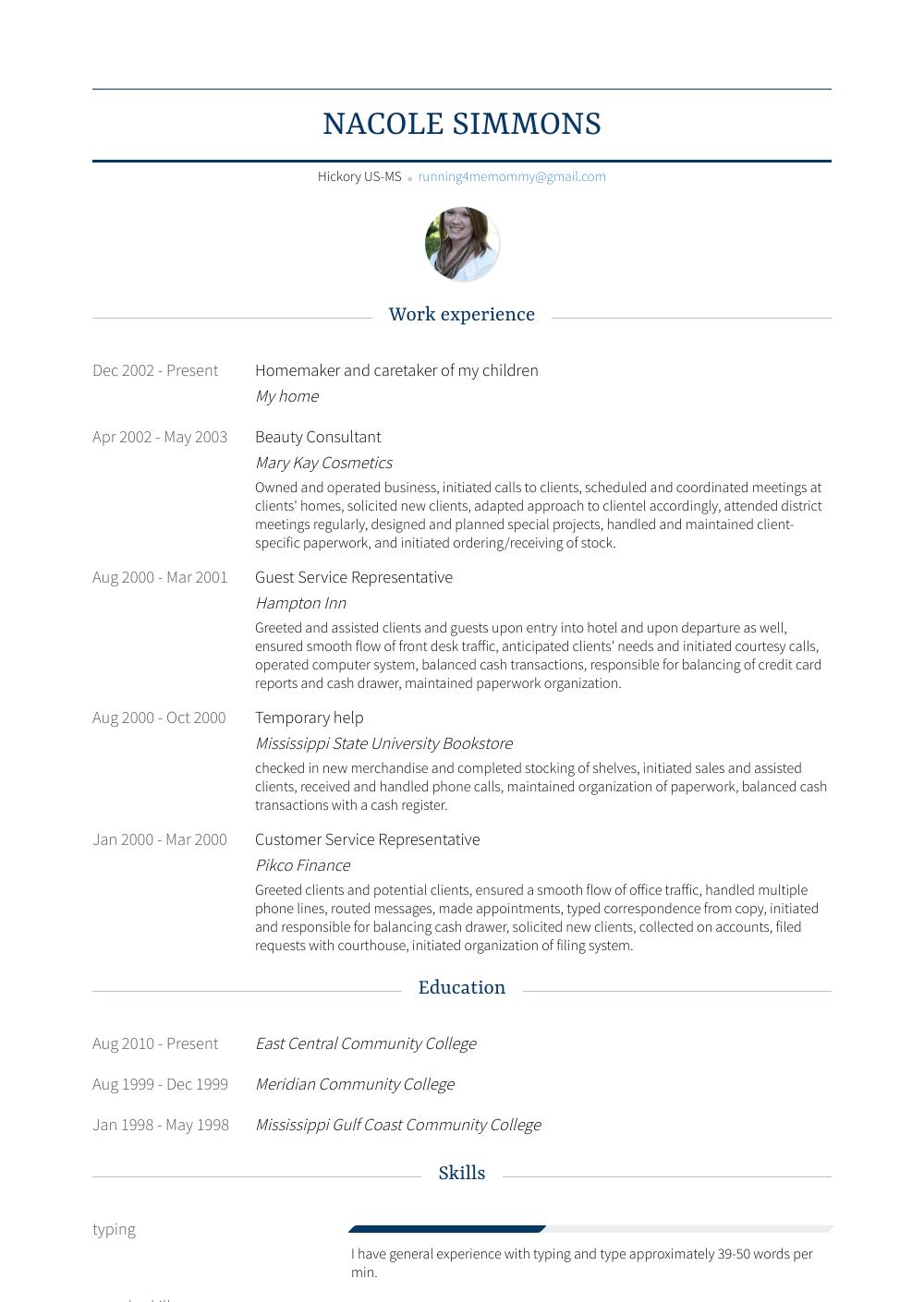 Caretaker Resume Sample