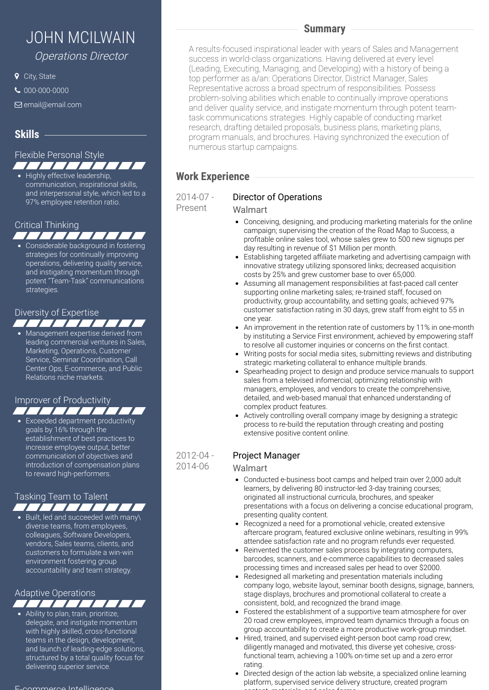 Operations Director Resume Sample