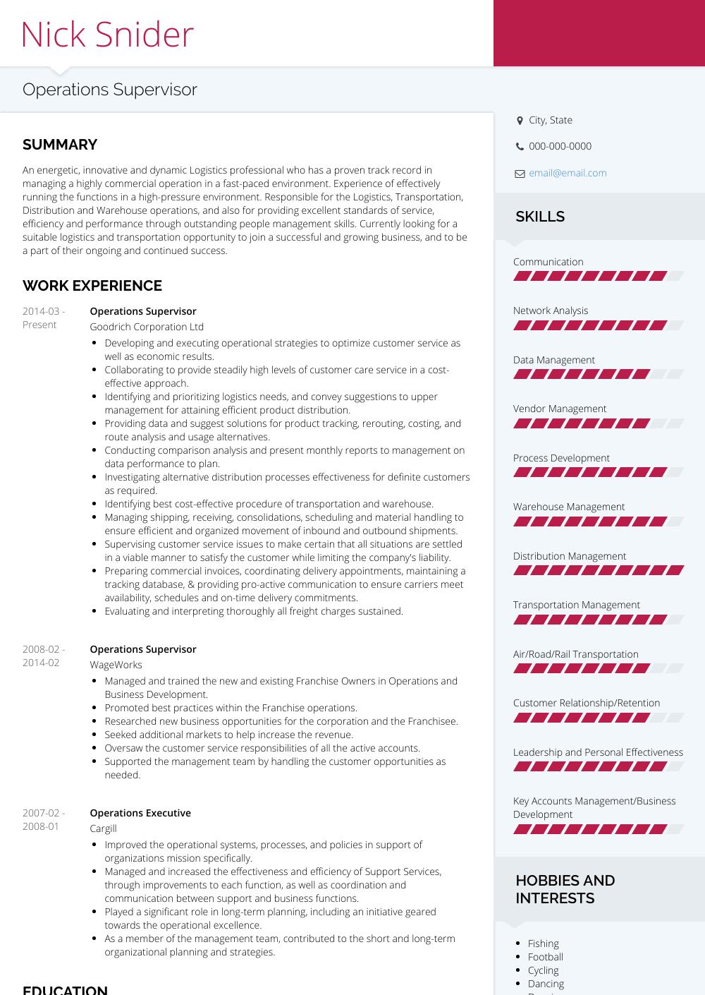 Operations Supervisor Resume Sample