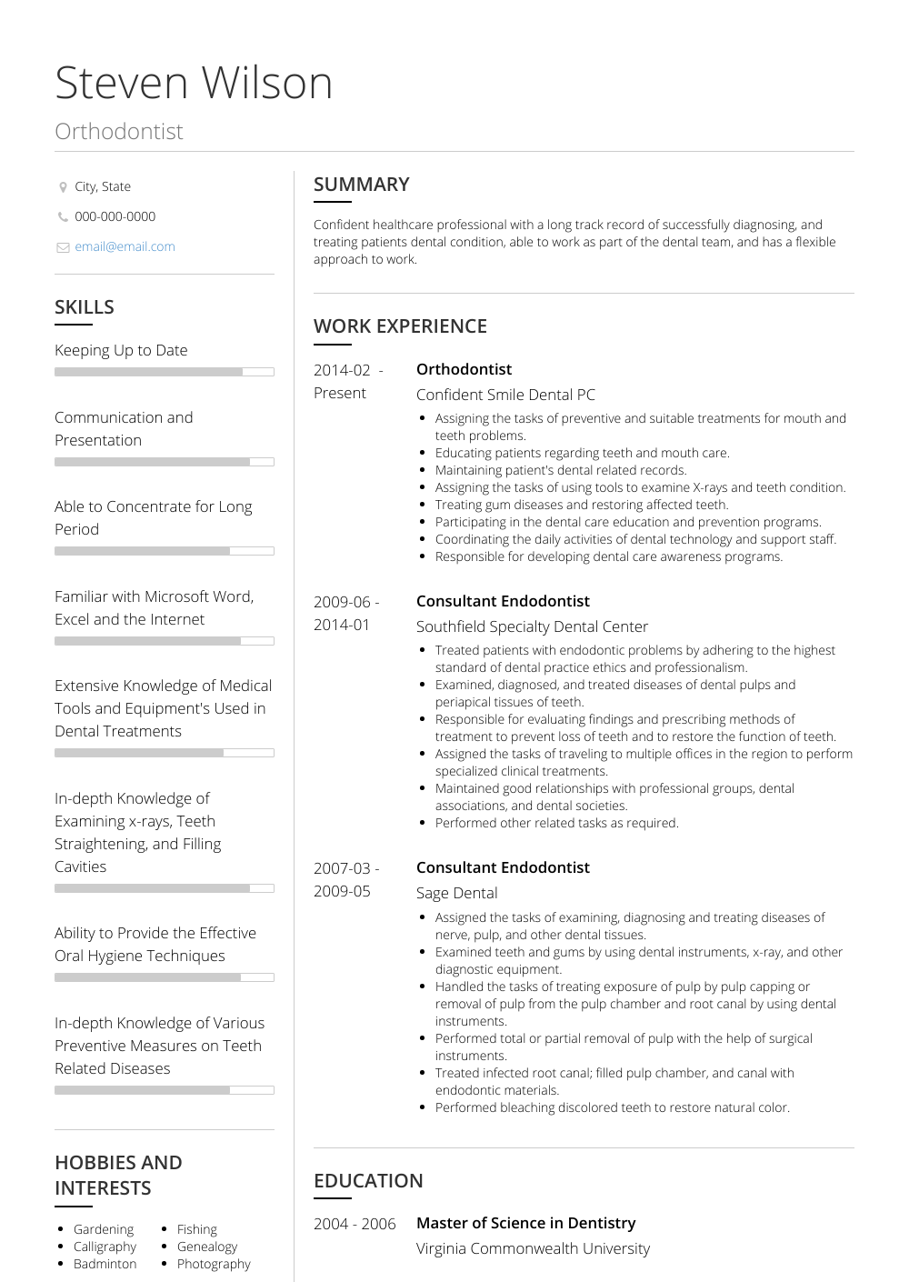 Orthodontist Resume Samples And Templates Visualcv